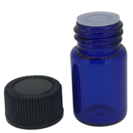 2 ml Boston Round Glass Blue Essential Oil Bottles with Orifice Reducers and Black Lids