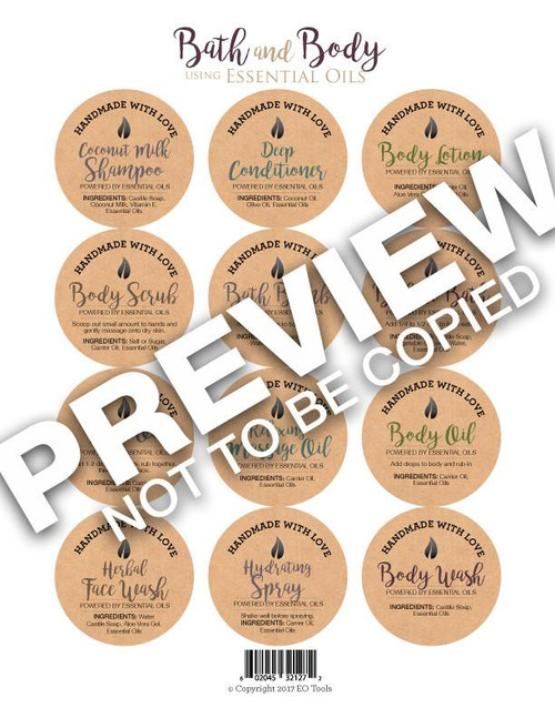 Bath and Body using Essential Oils Labels