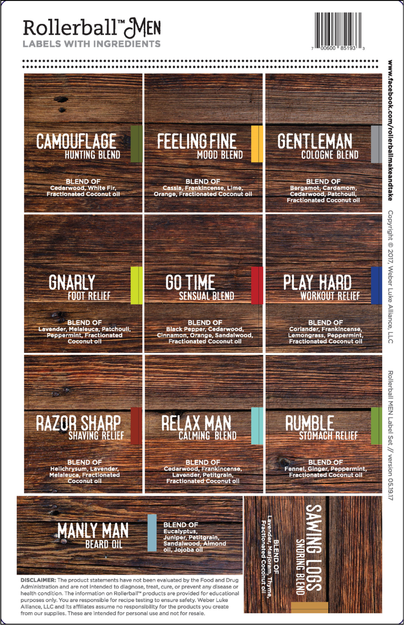 Rollerball Men Essential Oil Assorted Labels