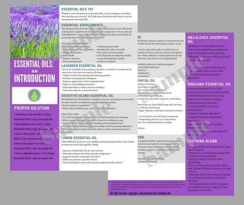 Essential Oils 101 | Unlimited Printing Digital Tear Pad