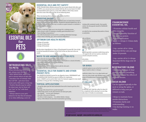 Essential Oils for Pets | Unlimited Printing Digital Tear Pad