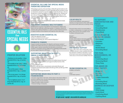 Essential Oils for Special Needs | Unlimited Printing Digital Tear Pad
