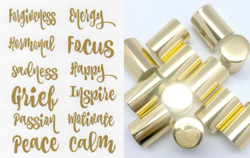 Gold Vinyl Collection Labels with Gold 10ml Roller Bottle Lids for DIY Essential Oil Blends