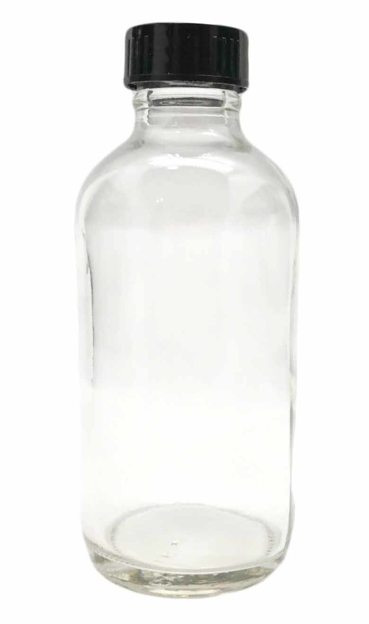 4 Ounce Clear Glass Bottle With Black Cap For Essential Oils 24 Mm