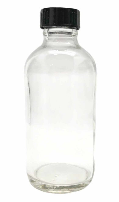 4 Ounce Clear Glass Bottle with Black Cap For Essential Oils | 24 mm Neck Size