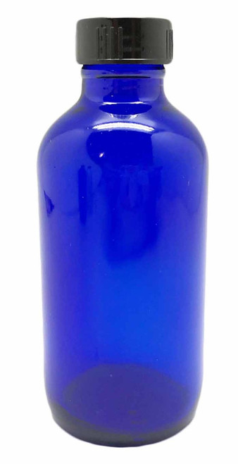 4 Ounce Blue Glass Bottle with Black Cap For Essential Oils | 24 mm Neck Size