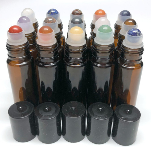 Chakra Gemstone Rollerball Inserts with Essential Oil Amber Roller Bottles with Black Lids