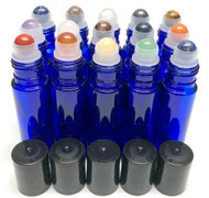Chakra Gemstone Rollerball Inserts with Essential Oil Blue Roller Bottles with Black Lids