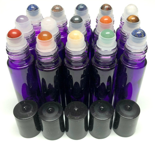 Chakra Gemstone Rollerball Inserts with Essential Oil Purple Roller Bottles with Black Lids