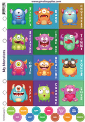 My Monsters Essential Oil Label Sheets with Lid Stickers for Kids