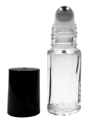 1/6 oz Clear Glass Roller Bottles with Stainless Steel Roll On Inserts and Black Caps