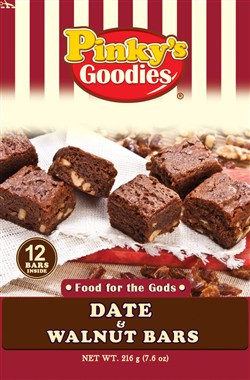 Pinky's Goodies Date and Walnut Bars wrapper