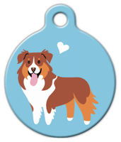 Dog Tag Art Aussie Shepherd (Red and Tan) Doggie Pet ID Dog Tag
