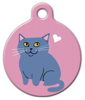 Dog Tag Art Russian Blue Cat Pet ID Dog Tag