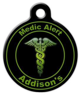 Dog Tag Art Green Addison's Medic Pet ID Dog Tag