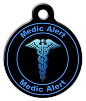 Dog Tag Art Blue Medic Alert Pet ID Dog Tag