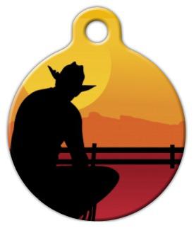 Dog Tag Art Cowboy Silhouette Pet ID Dog Tag