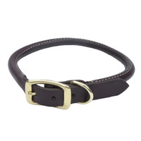 Circle T Leather Latigo Round Dog Collar Solid Brass Hardware (2203B)