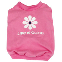 Life is Good dog t shirt pink