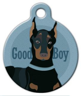 Dog Tag Art Good Boy Doberman or Miniature Pinscher Pet ID Dog Tag