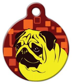 Dog Tag Art Mellow Yellow Pug Pet ID Dog Tag