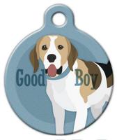Dog Tag Art Good Boy Beagle Pet ID Dog Tag