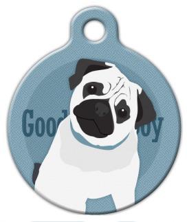 Dog Tag Art Good Boy Pug Pet ID Dog Tag