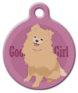 Dog Tag Art Good Girl Pomeranian Pet ID Dog Tag