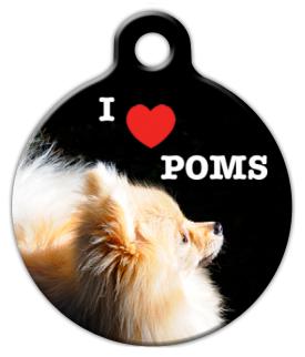 Dog Tag Art I Love Poms Pet ID Dog Tag