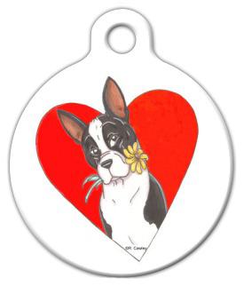 Dog Tag Art Spring Love Boston Terrier Pet ID Dog Tag