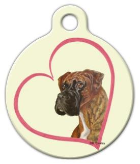 Dog Tag Art Boxer Heart Pet ID Dog Tag