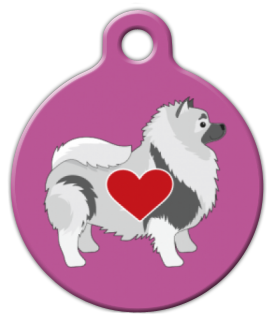Dog Tag Art Lovely Keeshond in Pink Pet ID Dog Tag