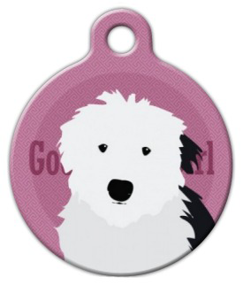 Dog Tag Art Good Girl Old English Sheepdog Pet ID Dog Tag