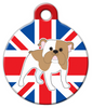 Dog Tag Art English Bulldog with Flag Pet ID Dog Tag