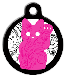 Dog Tag Art Pink Kitty Pet ID Dog Tag