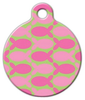 Dog Tag Art Pink Fish on Green Pet ID Dog Tag