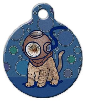 Dog Tag Art Scuba Kitty Pet ID Dog Tag