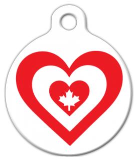 Dog Tag Art Canada Heart Flag Pet ID Dog Tag