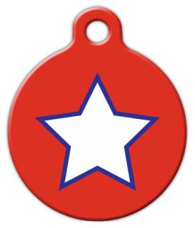 Dog Tag Art Patriotic Simple Star Pet ID Dog Tag