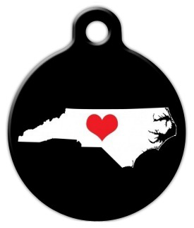 Dog Tag Art North Carolina State Love Pet ID Dog Tag