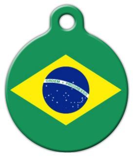Dog Tag Art Brazil Flag Pet ID Dog Tag