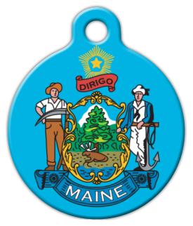 Dog Tag Art Maine State Emblem Pet ID Dog Tag