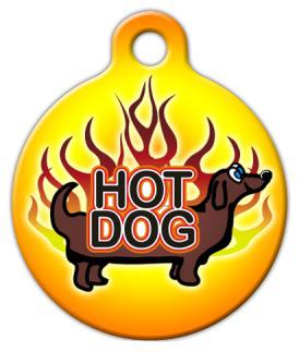 Dog Tag Art Hot Dog Dachshund Pet ID Dog Tag