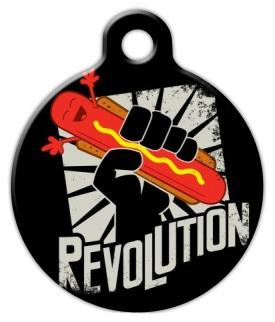Dog Tag Art Hot Dog Revolution! Pet ID Dog Tag