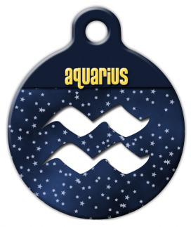 Dog Tag Art Aquarius Symbol Pet ID Dog Tag
