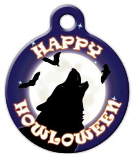 Dog Tag Art Howling Halloween Pet ID Dog Tag