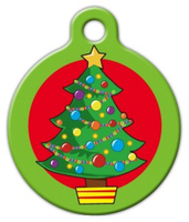 Dog Tag Art Cartoon Christmas Tree Pet ID Dog Tag