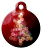 Dog Tag Art Bright Christmas Tree in Red Pet ID Dog Tag