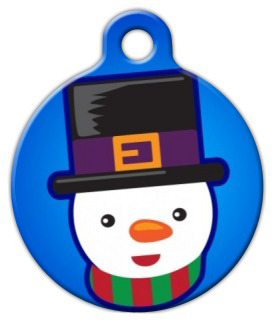 Dog Tag Art Cutie Chilly the Snowman Pet ID Dog Tag