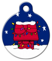 Dog Tag Art Christmas Red Dog House Pet ID Dog Tag
